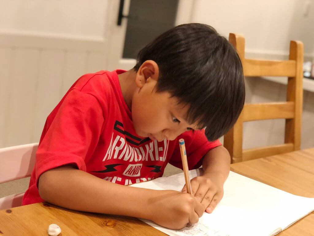 鉛筆の持ち方を意識していろんなものを書いてみよう